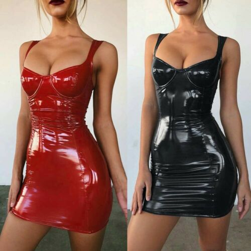 2019 <font><b>Women</b></font> Ladies Solid Skinny Slim <font><b>Sexy</b></font> Latex <font><b>Faux</b></font> <font><b>Leather</b></font> Bodycon Sleeveless Party Cocktail Strappy Clubwear <font><b>Mini</b></font> <font><b>Dresses</b></font> image