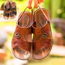 купить Men Sandals Genuine Split Leather Men Beach Shoes Brand Men Casual Shoes Men Slippers Sneakers Summer Shoes Flip Flops дешево