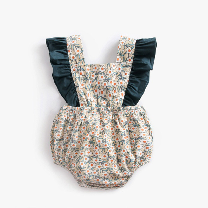 Ins Children 39 s Garment Girl Shivering Crash Sleeve Lin Tai Ha Baby Bandage Spelling Color Package Fart in Bodysuits from Mother amp Kids