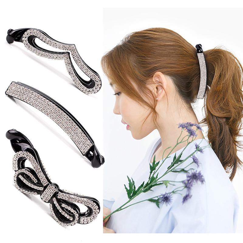 3pcs Banana Hair Clip Bowknot Fashionable Rhinestone Large Updo Ponytail Hair Claw Ponytail Holder Hair Clip