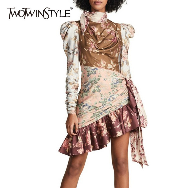 TWOTWINSTYLE Print Dresses Female Puff Sleeve High Waist Hollow Out Lace Up Asymmetrical Ruffle Dress Women