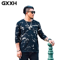 HOT Trend GXXH 2019 NEW Plus Size Men Long Sleeve T shirt Black Big and Tall Man 5XL 6XL 7xl Male Oversized Tee Brand clothes