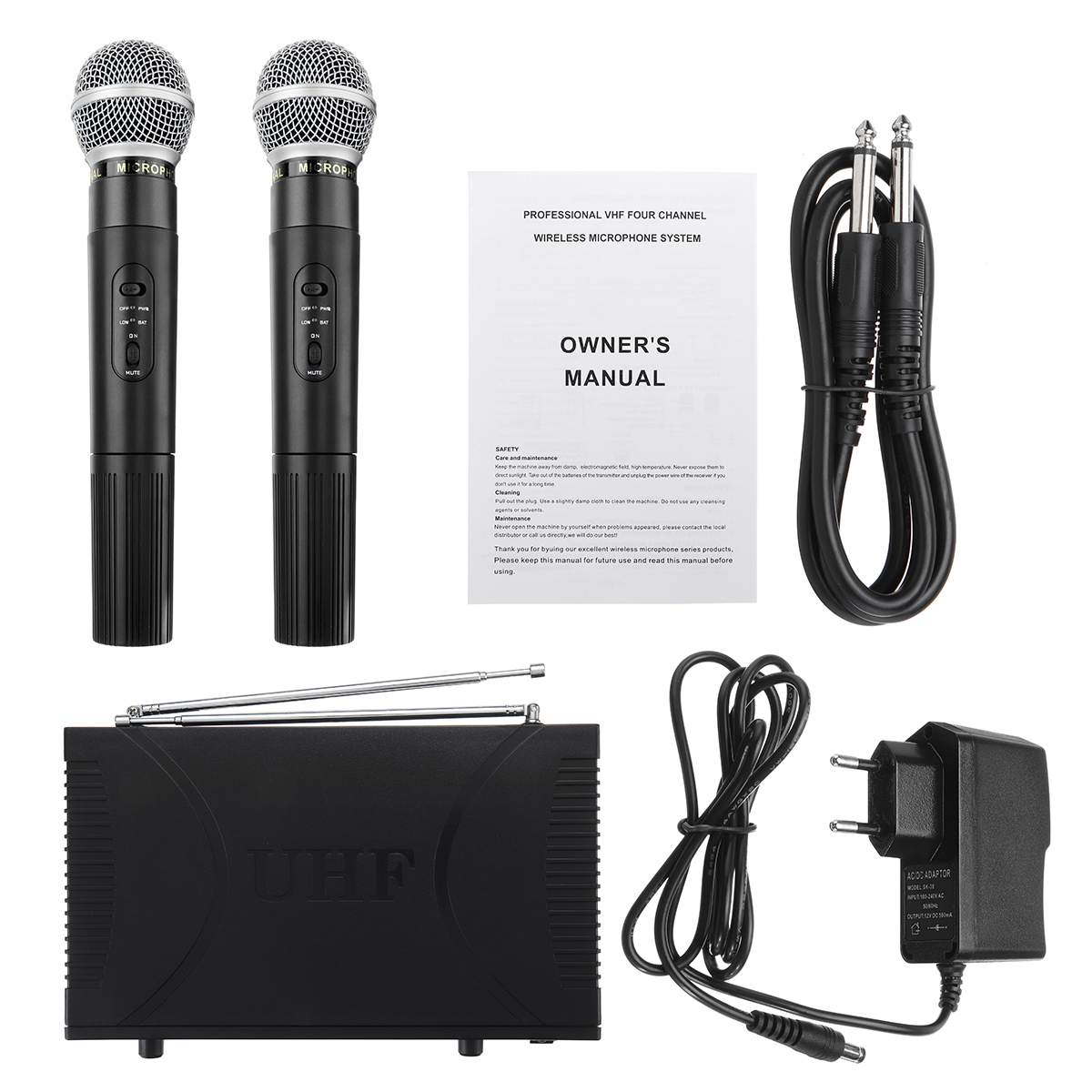 220V EU/UK/US Plug UHF 2 Channel  Professional Wireless Microphone Cordless System Handheld Karaoke For KTV Stage