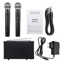 220V EU/UK/US Plug UHF 2 Channel Professional Wireless Microphone Cordless System Handheld Karaoke for KTV Stage