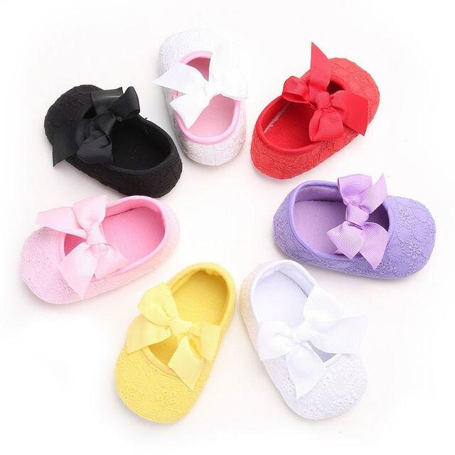 New arrival Newborn Baby Girls Kids Soft Sole Bow Crib Shoes Casual Anti-slip Sneaker Pre-walker 0-18M