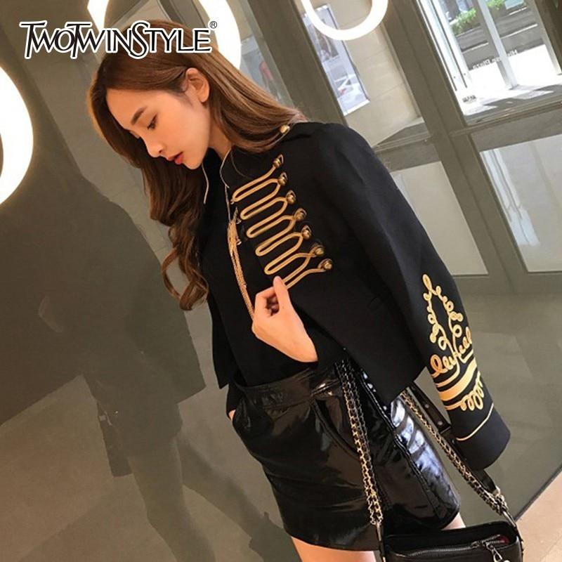 La Courtes Automne Pour Longues Col Vêtements Féminine Black Manteau Femmes Mode 2018 Manches Stand Vestes À Rivets Broderie Twotwinstyle De EwqFZZ