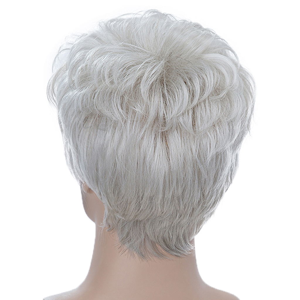 Fashion Silver Gray Male Short Fluffy Layered Straight Wigs Human Hair Natural Handsome Full Head Wig for Men Cosplay Daily Wear fluffy straight synthetic handsome medium side bang capless blonde mixed wig for men