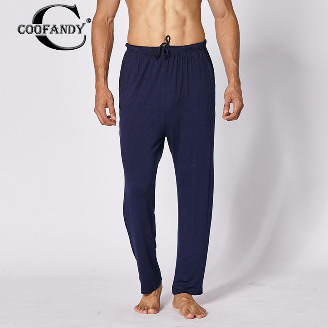 Men Casual Loose Modal Pajama Pants Cotton Elastic Waist Breathable Spring, Autumn Home Pants Solid Pajamas