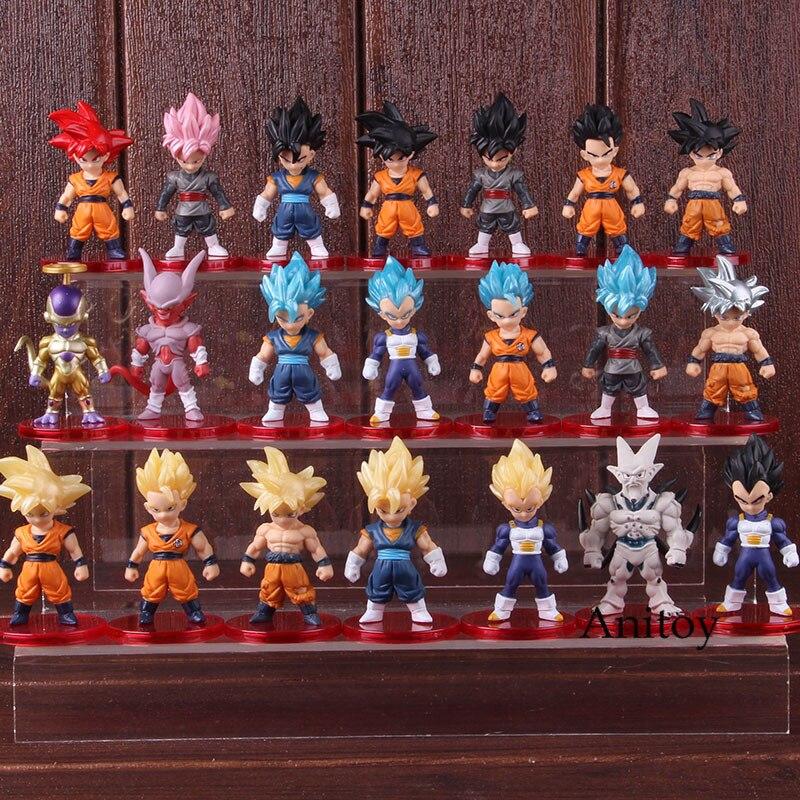 Figura de acción Dragon Ball Goku Son Goku Vegeta Frieza vegetal PVC figura de Anime coleccionable juguete 21 unids/set