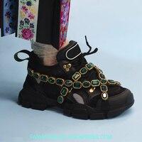 Роскошные разноцветные кроссовки на платформе, украшенные кристаллами и цепочками, летняя спортивная обувь, женские дышащие кроссовки для