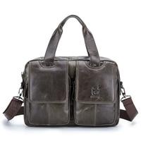 BULLCAPTAIN Men Genuine Leather Bag Business Computer Laptop Bags Fashion Cowhide Male Commercial Briefcase Messenger Shoulder