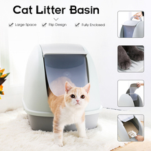 Cat litter bowl anti-splash fully enclosed sand basin plastic extra large cat toilet pot pull small big size toilet cat supplies