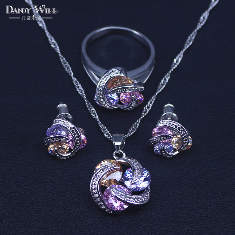 Promotion Free Ship Colorful Jewelry Sets Cubic Zirconia CZ Stone 925 Sterling Silver Earrings Necklaces Finger Rings(China)