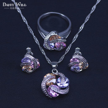 Colorful Jewelry Sets Cubic Zirconia CZ Stone 925 Sterling Silver Earrings Necklaces Finger Rings