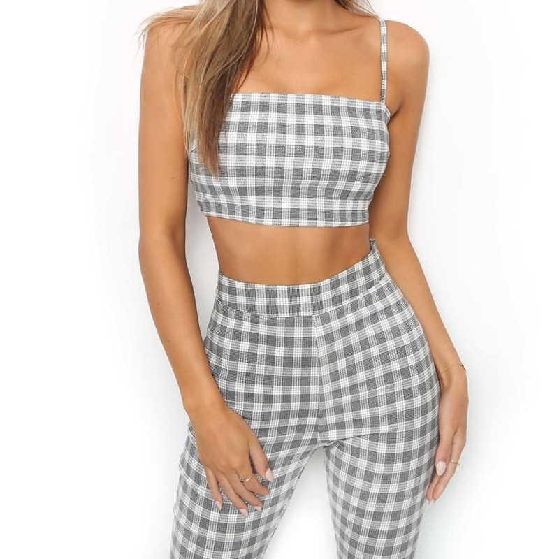 Minimalistyczny kobiety 2 sztuk zestaw Crop Top długie ołówek spodnie czarny Plaid koszula spodnie Flare bez rękawów Camisole spodnie skinny fit dla pani
