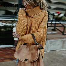 цена на Casual Loose Autumn Winter Turtleneck Sweater Women Oversize Solid Knitted Sweaters Warm Long Sleeve Pullover Sweater