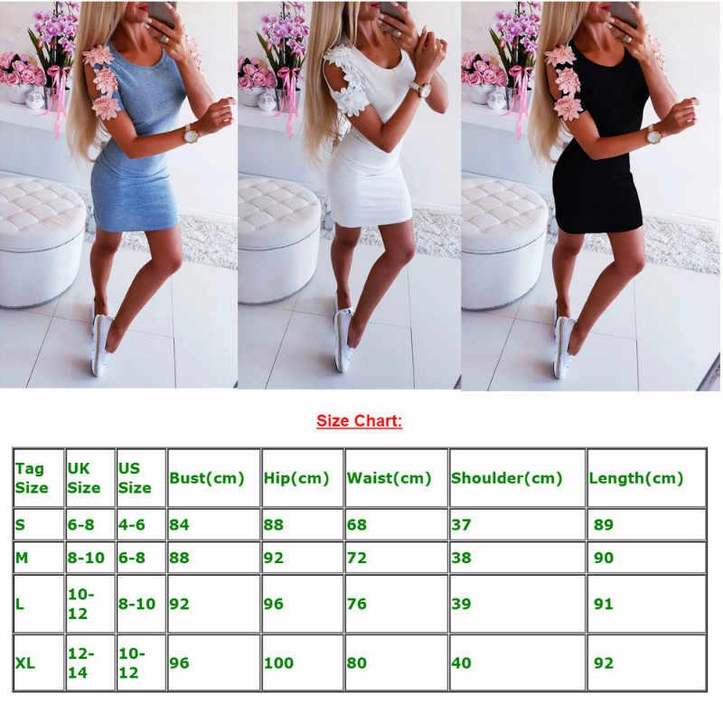 Yaz elbisesi 2019 Kadınlar Seksi Ince Rahat Mini Elbiseler Bayanlar Düz Kısa Kollu Bodycon Elbise Parti Clubwear Mini