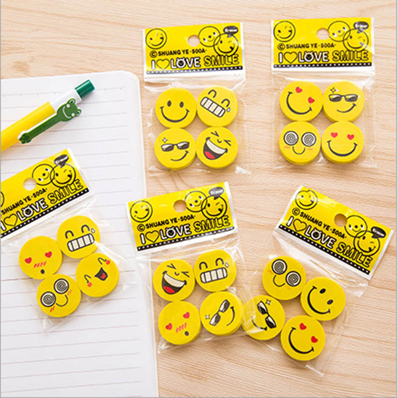 4 Pcs/lot (1 Bag ) Cute Erasers Lovely Smiley Rubber Pencil Eraser For Kids Gift School Supplies Stationery Creative Items