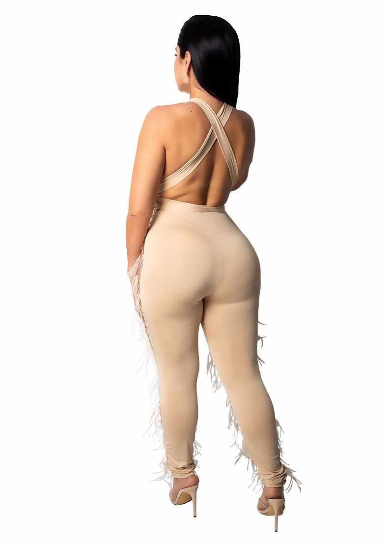 Пикантные Для женщин без рукавов Блестящий Комбинезон с открытой спиной Вечерние ночной клуб блестками комбинезон женский тонкий прозрачный комбинезон
