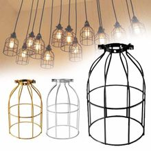 Retro Vintage Iron Lampshade Birdcage Model Hanging Ceiling Pendant Light Holder Lamp Shade Black/Silver/Gold(China)