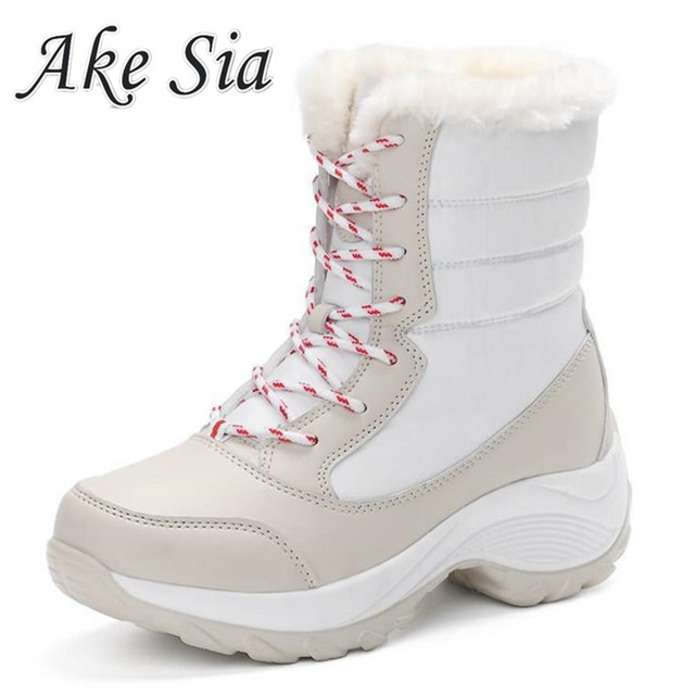 Big Size Winter Women Snow Boots Winter Women Keep warm Shoes Autumn Female Mid-Calf Platform Boots 2019 Woman Shoes F249
