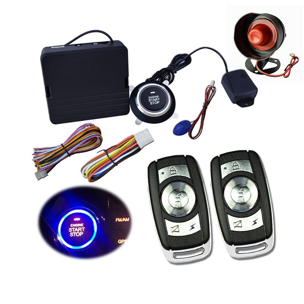 9 pièces voiture SUV sans clé entrée moteur démarrage système d'alarme bouton poussoir démarreur à distance arrêt Anti-vol télécommande Auto accessoires