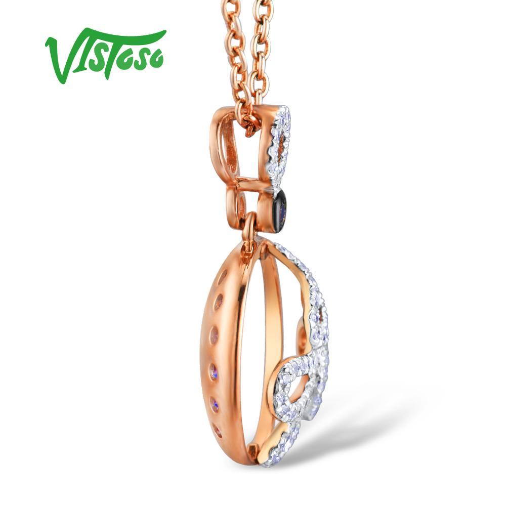VISTOSO Gold Anhänger Für Frauen Authentische 14K 585 Rose Gold Funkelnde Blaue Saphir Diamant Luxus Halskette Anhänger Edlen Schmuck-in Anhänger aus Schmuck und Accessoires bei  Gruppe 3