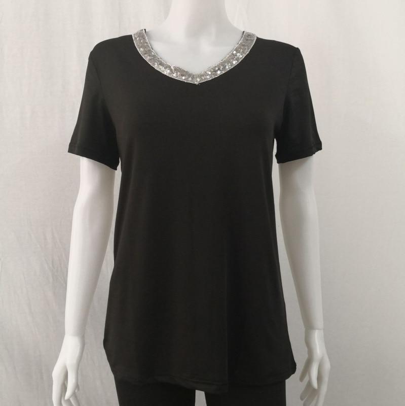 Sequined T-shirts Women T Shirts Short Sleeve Plus Size 4XL 5XL Summer Top V Neck Casual TShirt Femme Tees Camiseta Feminista