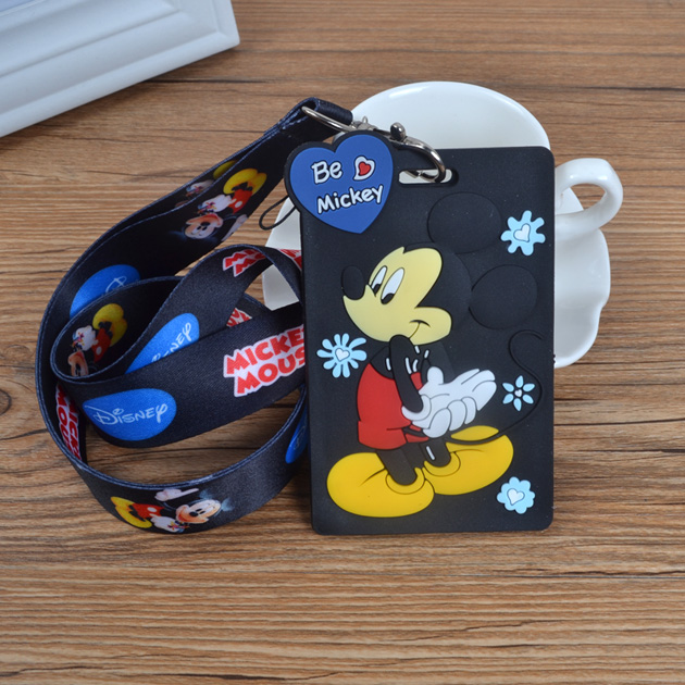1Pcs Cartoon Mickey Lanyard ID Badge Holder Key Neck Strap Kids Gifts QW-353
