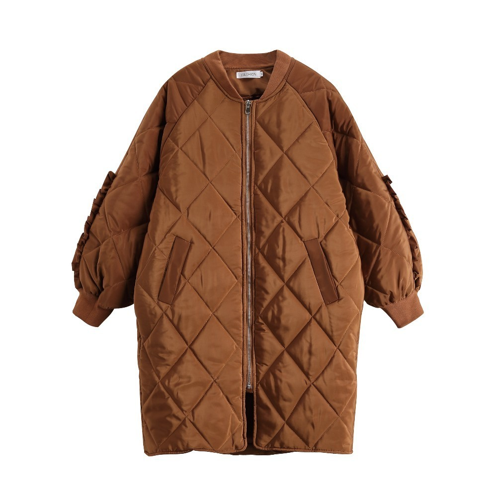 Autumn Winter Cotton Parka Long Loose Vintage Outerwear Frill Sleeve Round Neck Women Jacket Coat Frivolous Bread Clothes HJ15 in Parkas from Women 39 s Clothing