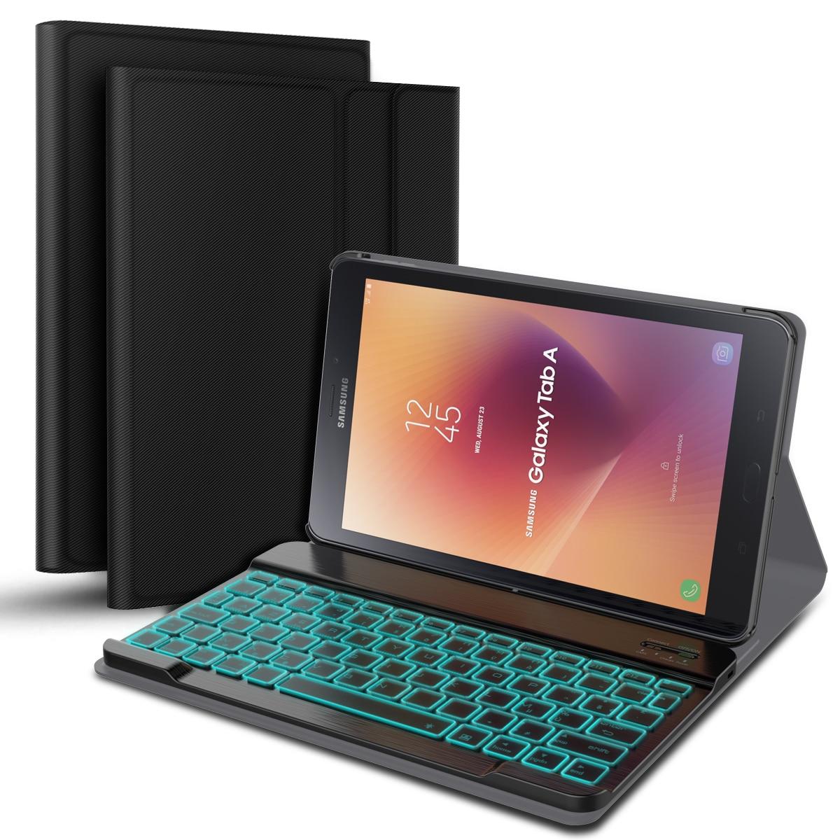 Pour Samsung Galaxy Tab A 10.5 T595 T590 étui séparable français coloré rétro-éclairage Bluetooth clavier en cuir Fundas + porte-stylo