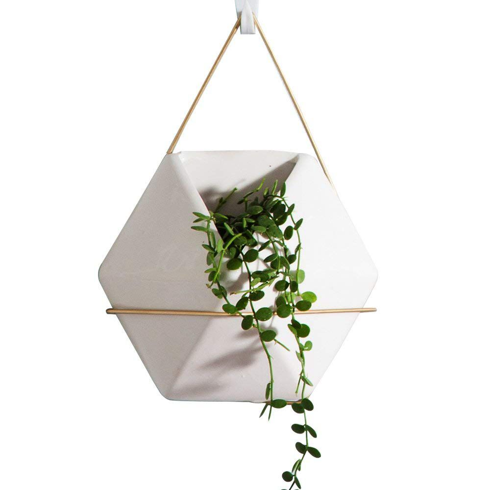 Hexagon White Ceramic Wall Hanging Planter | Wall Hanging Planters