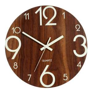 Luminous Wall Clock,12 Inch Wooden Silent Non-Ticking Kitchen Wall Clocks With Night Lights For Indoor/Outdoor Living Room(China)