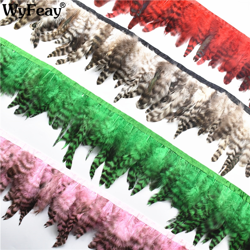 10Meter Lot Rooster Pheasant Feather Trims Fringe for Skirt Ribbon Trimming Feathers for Crafts Plume Plumage
