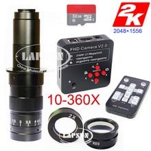 Lapsun 10X   360X عدسات تكبير 21.0MP HD مختبر الصناعية المجهر كاميرا 2K @ 30FPS HDMI 1080P @ 60FPS USB الإخراج + 32GB TF بطاقة