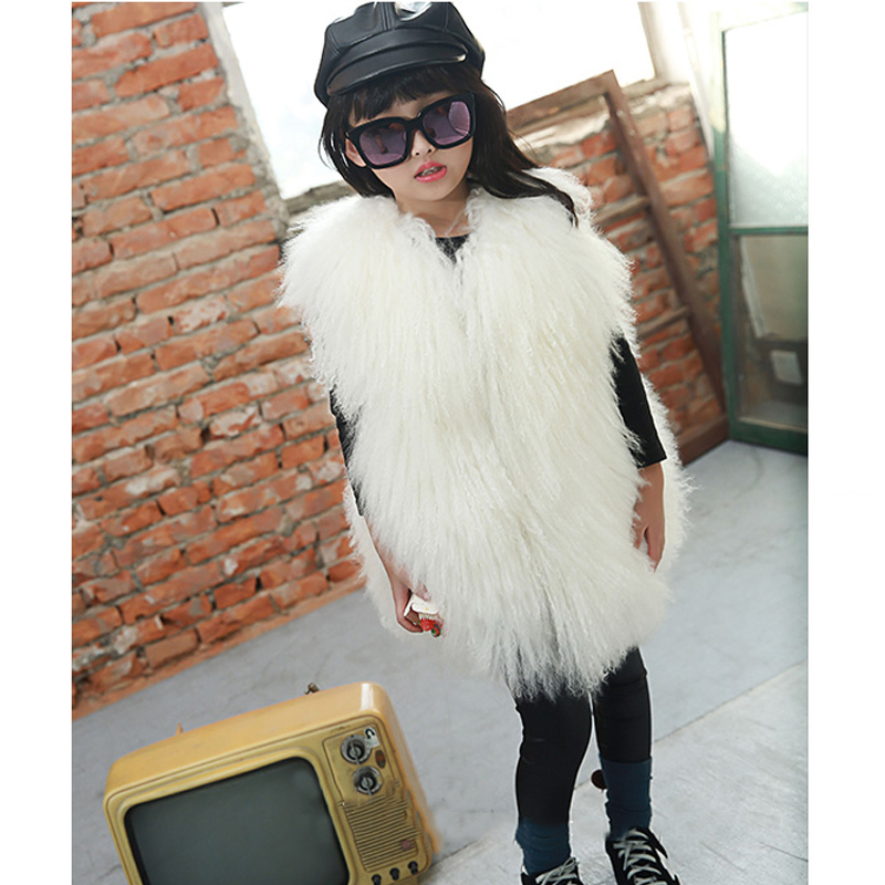 Children Real Beach Wool Fur Vest Winter Warm Fur Outerwear Vest Kids Solid Long Thick Beach Wool Fur Vests Baby Waistcoats V#14 fashion children real fox fur vest autumn winter warm baby waistcoats short thick vests outerwear kidsvest waistcoats v 12