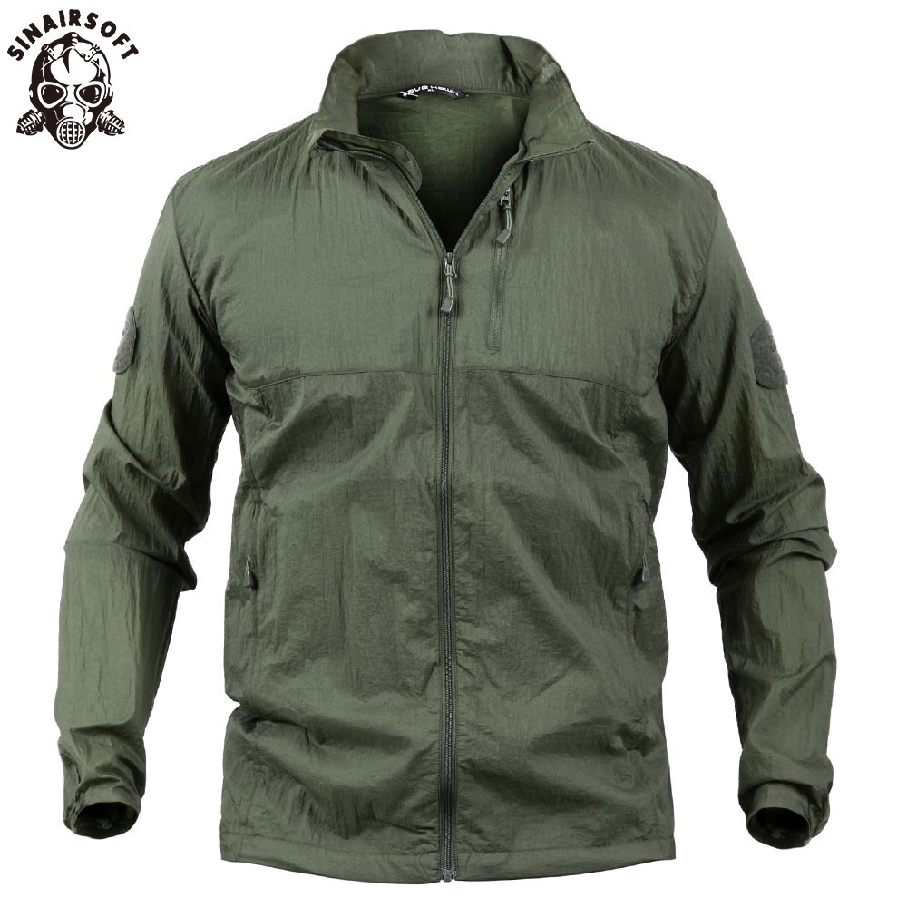 SINAIRSOFT Men Clothes Coat Military Bomber Men Jacket Tactical Outwear Breathable Light Windbreaker Waterproof Jackets