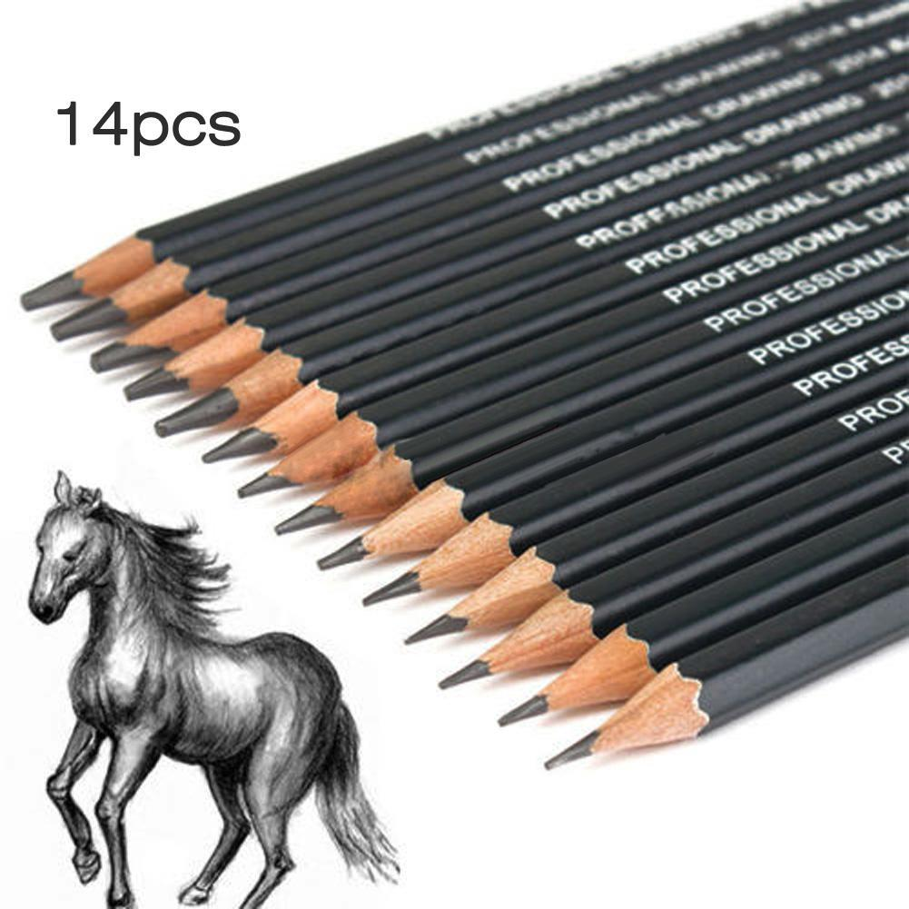 High Quality 14Pcs School Student Stationery Sketch Pencil Set For Drawing Tool Charcoal Pen Set Children Gift Art Supplies