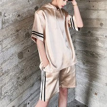 Set T-shirt Men Short Sleeve Thin Satin Style Casual  Male Streetwear Hip Hop Party Tee Shirt Stage Clothing