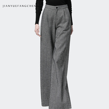 Office Ladies Pants Trousers Gray Long Wide Leg Winter Pants Women Plus Size 2018 Warm High Waist Wool Pants Pantalon Striped недорого