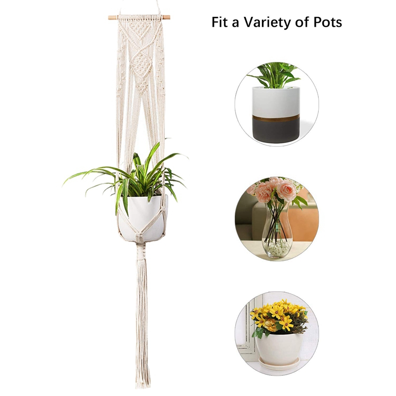 Macrame Plant Hanger-handgemaakte Indoor Muur Opknoping Planter Plant Holder, Moderne Boho Thuis Patio Tuin Decor
