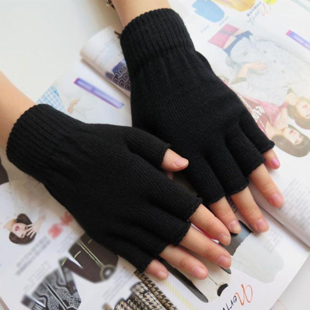Unisex Warm Men Women Solid Winter Sports Fingerless Stretchy Elastic Knitted Half Finger Thermal Gloves