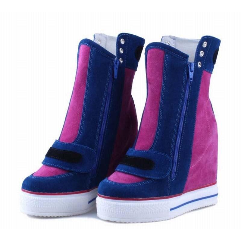 22d2a5e80b879 جلد طبيعي من جلد الغزال خليط ارتفاع زيادة حذاء كاجوال Zapatillas Deportivas  موهير مزدوجة سستة المصاعد حذاء من الجلد