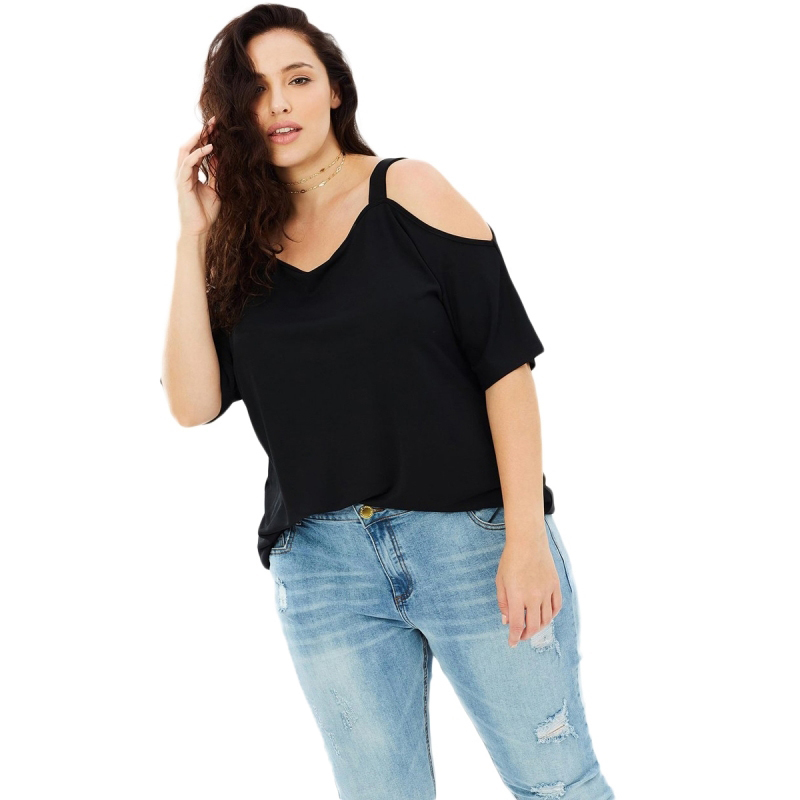 HDY HAODUOYI Plus Size Solid Casual Slash Neck Women T-shirt  Female Hollow Out Sexy Tops Black Loose Top Tees Big Size