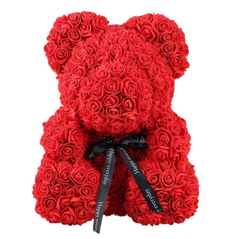 38*30cm Cute Rose Bear Toy Women Girls Wedding Decoration Teddy Bear Doll Anniversary Valentines Day Gift Large Drop Shipping Artificial & Dried Flowers Home & Garden