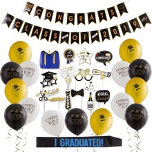Graduation Party Supplies 2019 Congrats Class of Banner High School College Prom Decorations