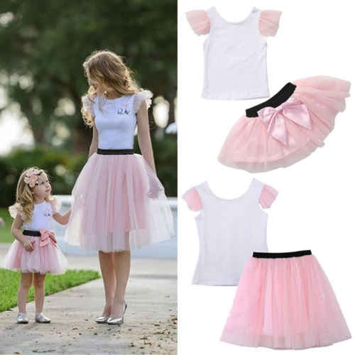 Pudcoco 2pcs Fashion Mother Daughter Women Kid Girls Summer T-shirt+Bow Tulle Skirt Outfits Summer Clothes Costume
