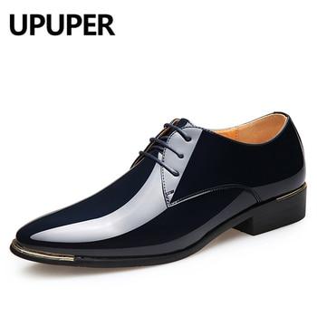 White Leather Shoes | UPUPER Plus Size 38-48 Patent Leather Men's Dress Shoes For Wedding Party Shoes For Man White Black Fashion Oxfords Shoes Men