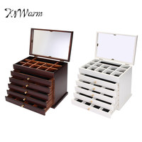 KiWarm Exquisite 12'' Large Wooden Jewellery Box Organizer Bracelet Necklaces Ring Display Case Home Storage Container
