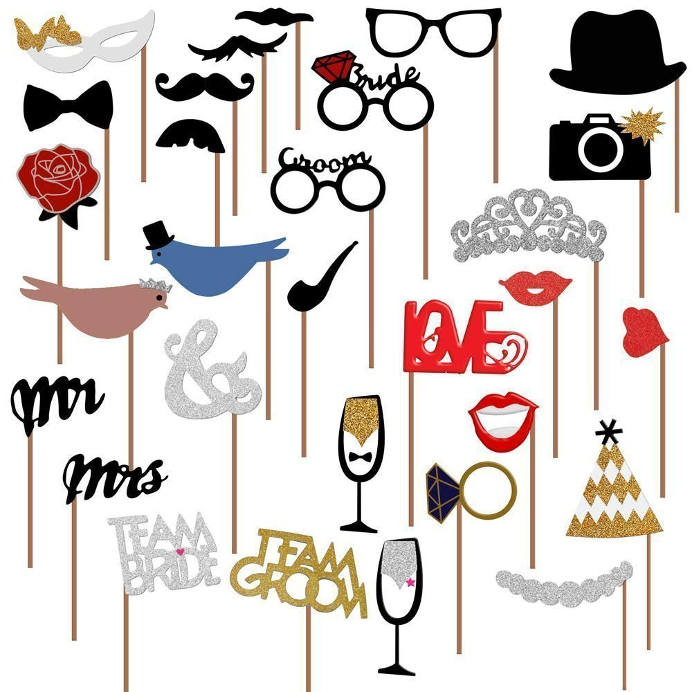 31pcs/lot Funny Photo Booth Props DIY Mr Mrs Wedding Groom Bridal Decoration Party Photoboot Accessories IG00131pcs/lot Funny Photo Booth Props DIY Mr Mrs Wedding Groom Bridal Decoration Party Photoboot Accessories IG001